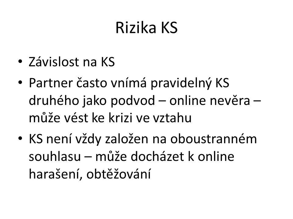 Rizika KS Závislost na KS Partner často vnímá pravidelný KS druhého jako podvod – online nevěra – může vést ke krizi ve vztahu KS není vždy založen na oboustranném souhlasu – může docházet k online harašení, obtěžování