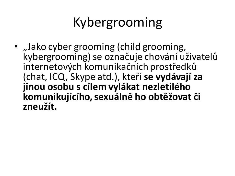 """Kybergrooming """"Jako cyber grooming (child grooming, kybergrooming) se označuje chování uživatelů internetových komunikačních prostředků (chat, ICQ, Skype atd.), kteří se vydávají za jinou osobu s cílem vylákat nezletilého komunikujícího, sexuálně ho obtěžovat či zneužít."""