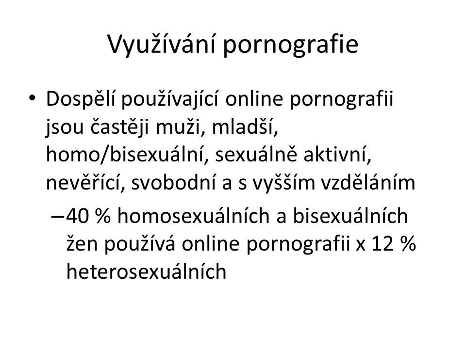 Využívání pornografie Dospělí používající online pornografii jsou častěji muži, mladší, homo/bisexuální, sexuálně aktivní, nevěřící, svobodní a s vyšším vzděláním – 40 % homosexuálních a bisexuálních žen používá online pornografii x 12 % heterosexuálních