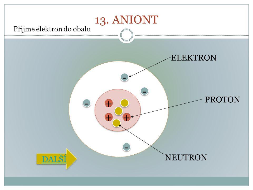 13. ANIONT + ++ - - - - - - - - PROTON NEUTRON ELEKTRON Přijme elektron do obalu DALŠÍ