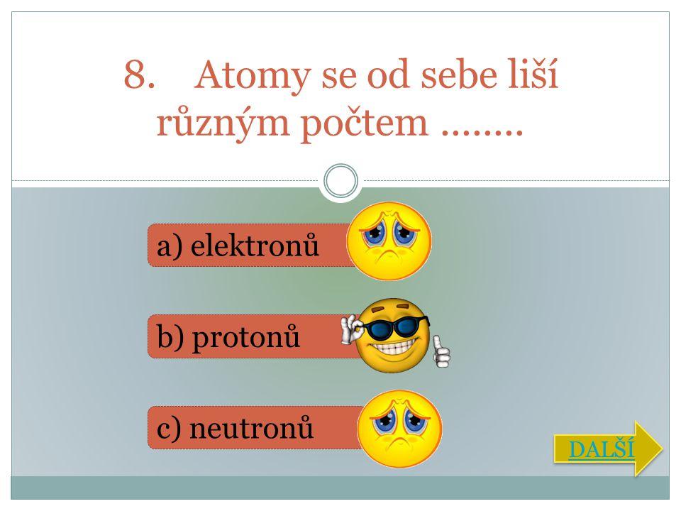 9. Nejjednoduším prvkem je....... a) helium b) kyslík c) vodík DALŠÍ