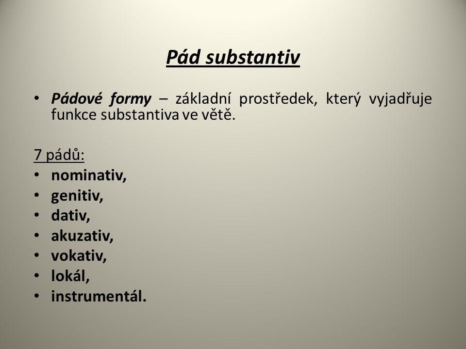 Pádové formy – základní prostředek, který vyjadřuje funkce substantiva ve větě. 7 pádů: nominativ, genitiv, dativ, akuzativ, vokativ, lokál, instrumen