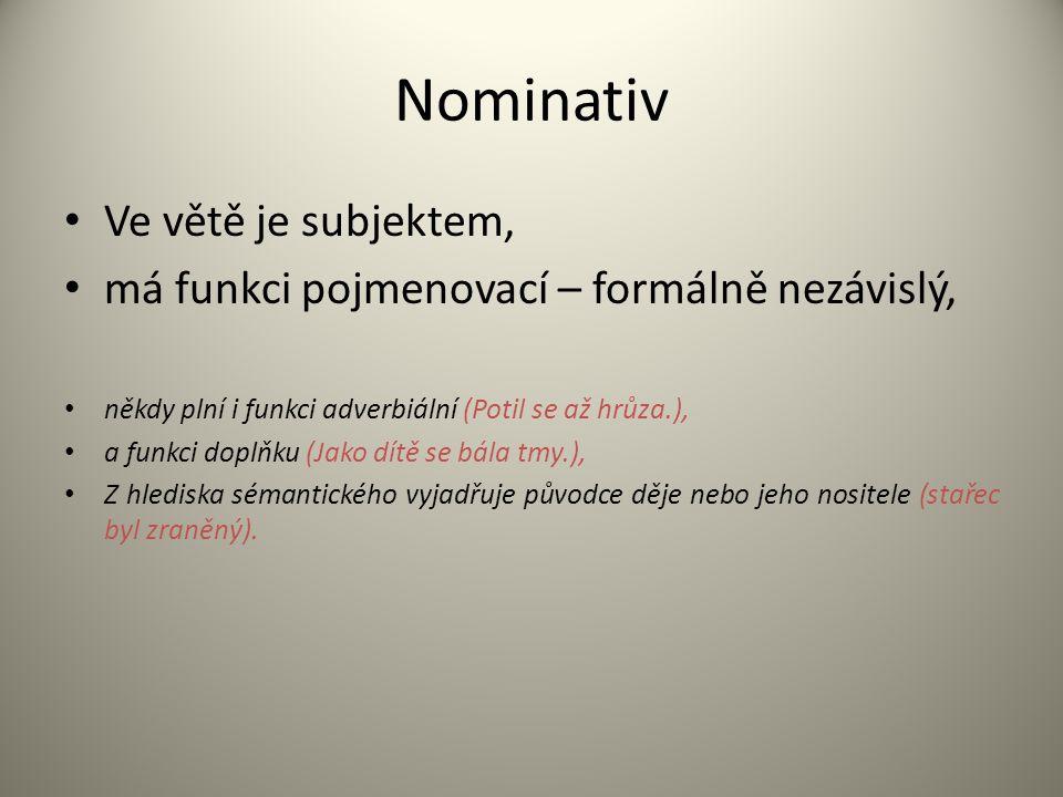 Nominativ Ve větě je subjektem, má funkci pojmenovací – formálně nezávislý, někdy plní i funkci adverbiální (Potil se až hrůza.), a funkci doplňku (Ja