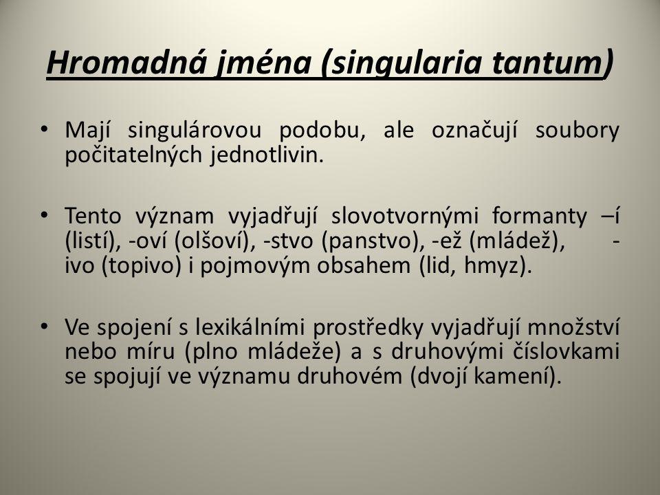 Hromadná jména (singularia tantum) Mají singulárovou podobu, ale označují soubory počitatelných jednotlivin. Tento význam vyjadřují slovotvornými form