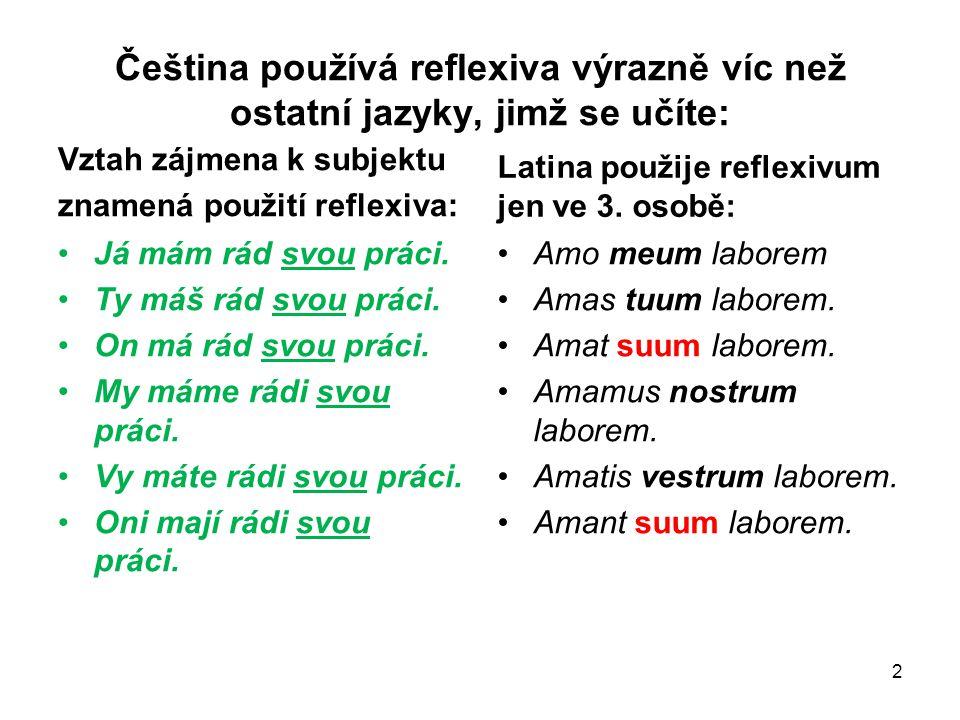 Čeština používá reflexiva výrazně víc než ostatní jazyky, jimž se učíte: Vztah zájmena k subjektu znamená použití reflexiva: Já mám rád svou práci. Ty