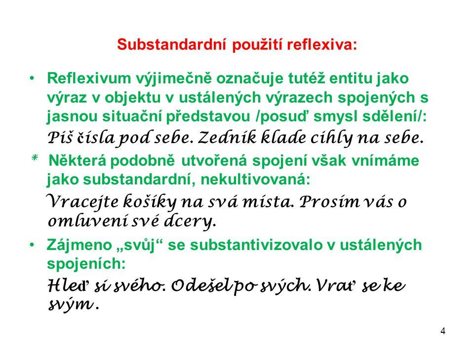 Substandardní použití reflexiva: Reflexivum výjimečně označuje tutéž entitu jako výraz v objektu v ustálených výrazech spojených s jasnou situační pře