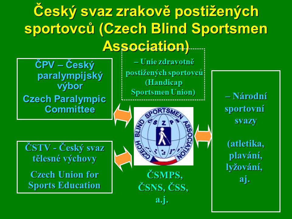 Český svaz zrakově postižených sportovců (Czech Blind Sportsmen Association) ČPV – Český paralympijský výbor Czech Paralympic Committee – Unie zdravot