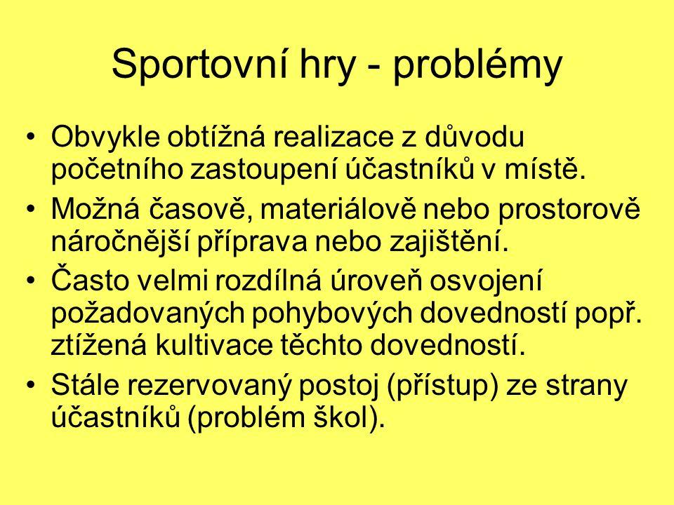 Sportovní hry - problémy Obvykle obtížná realizace z důvodu početního zastoupení účastníků v místě. Možná časově, materiálově nebo prostorově náročněj