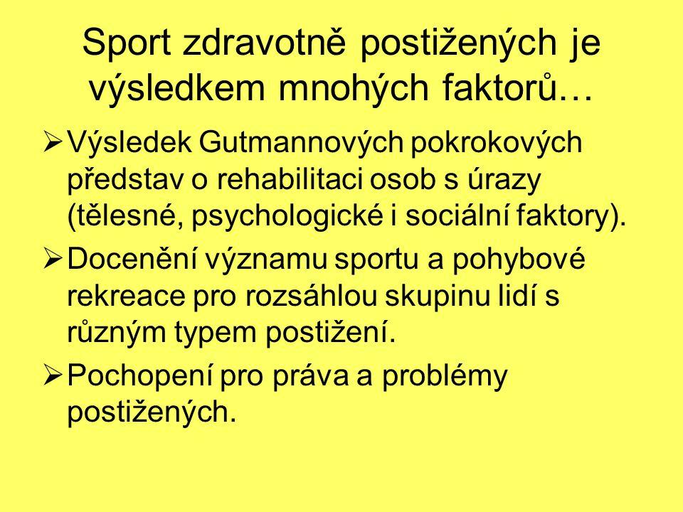 Sport zdravotně postižených je výsledkem mnohých faktorů…  Výsledek Gutmannových pokrokových představ o rehabilitaci osob s úrazy (tělesné, psycholog