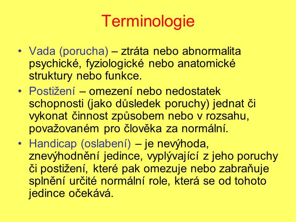 Terminologie Vada (porucha) – ztráta nebo abnormalita psychické, fyziologické nebo anatomické struktury nebo funkce. Postižení – omezení nebo nedostat