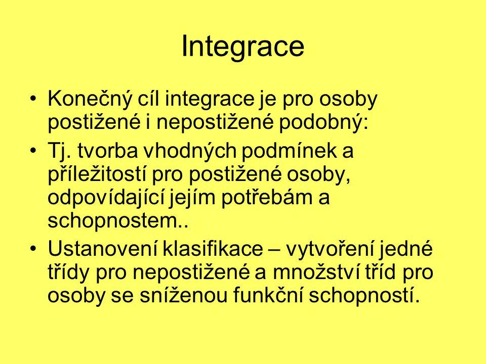 Integrace Konečný cíl integrace je pro osoby postižené i nepostižené podobný: Tj. tvorba vhodných podmínek a příležitostí pro postižené osoby, odpovíd