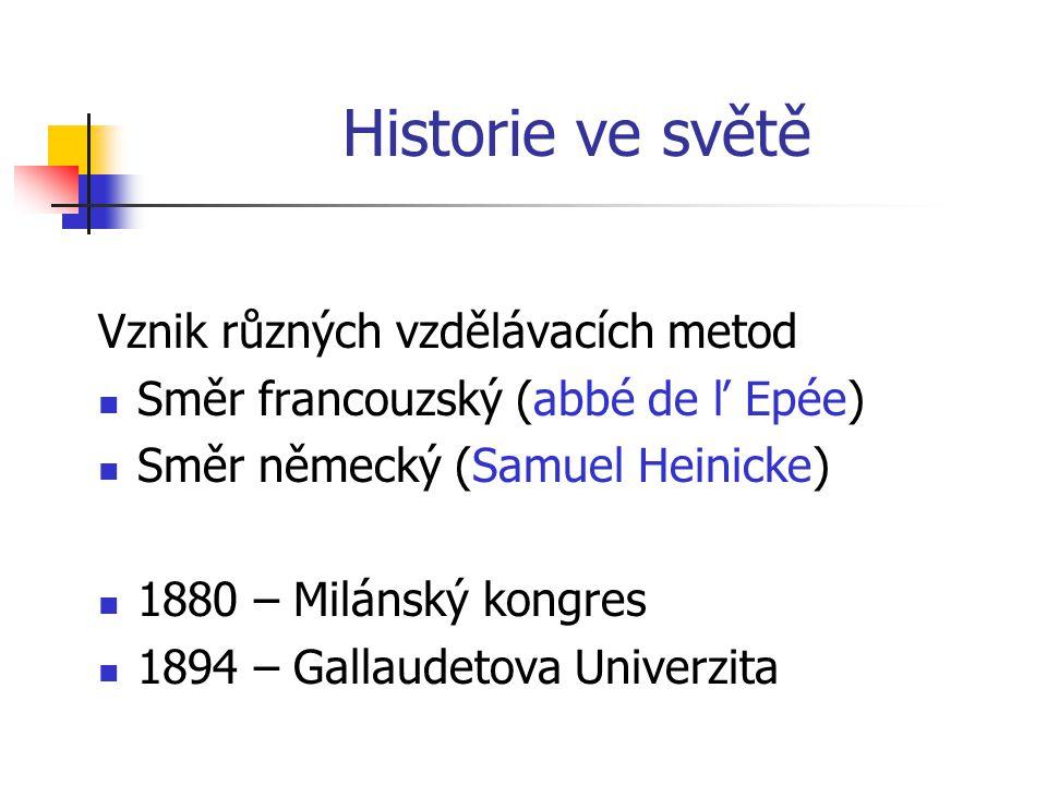 Historie ve světě Vznik různých vzdělávacích metod Směr francouzský (abbé de ľ Epée) Směr německý (Samuel Heinicke) 1880 – Milánský kongres 1894 – Gallaudetova Univerzita