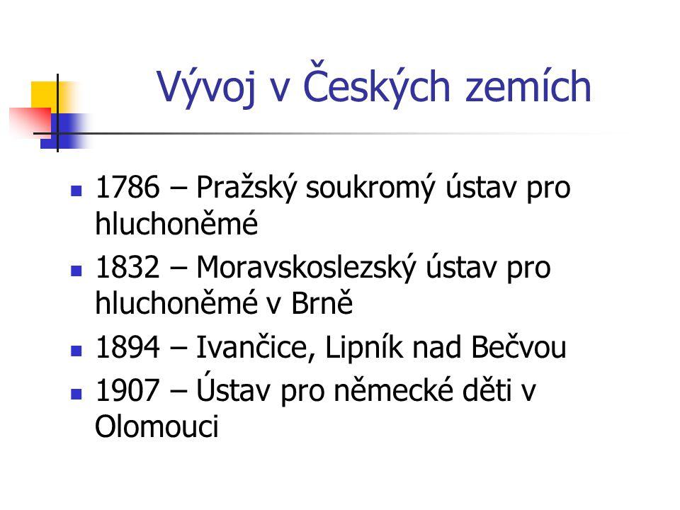 Historie ve světě Vznik různých vzdělávacích metod Směr francouzský (abbé de ľ Epée) Směr německý (Samuel Heinicke) 1880 – Milánský kongres 1894 – Gal