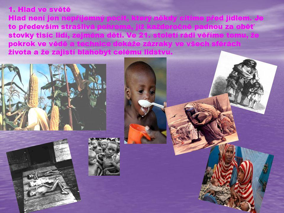 1. Hlad ve světě Hlad není jen nepříjemný pocit, který někdy cítíme před jídlem. Je to především strašlivá pohroma, jíž každoročně padnou za oběť stov