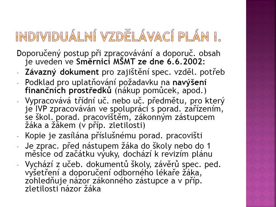 Doporučený postup při zpracovávání a doporuč. obsah je uveden ve Směrnici MŠMT ze dne 6.6.2002: - Závazný dokument pro zajištění spec. vzděl. potřeb -