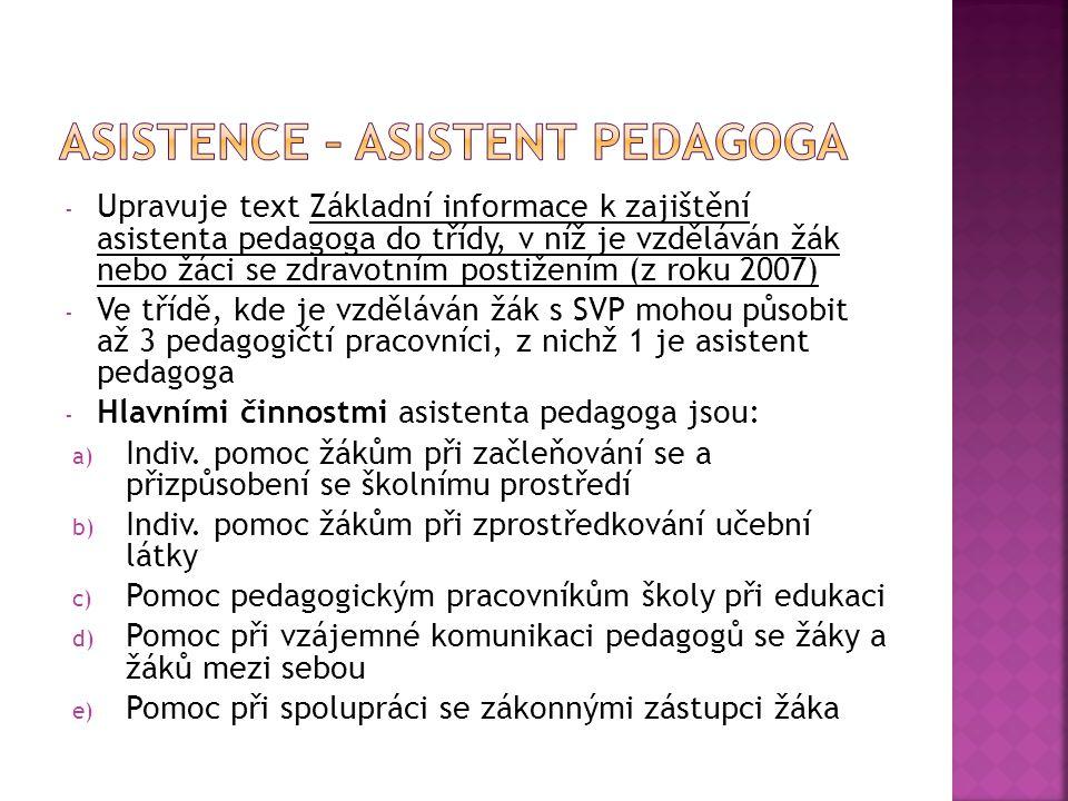 - Upravuje text Základní informace k zajištění asistenta pedagoga do třídy, v níž je vzděláván žák nebo žáci se zdravotním postižením (z roku 2007) -
