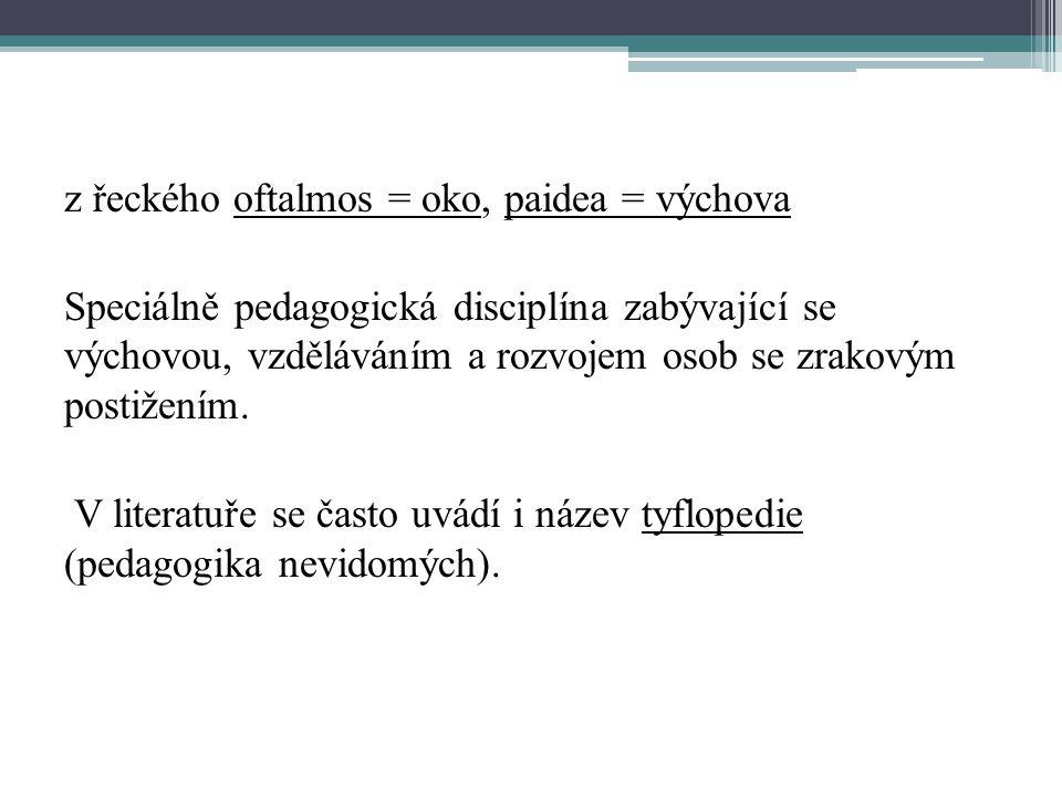 z řeckého oftalmos = oko, paidea = výchova Speciálně pedagogická disciplína zabývající se výchovou, vzděláváním a rozvojem osob se zrakovým postižením
