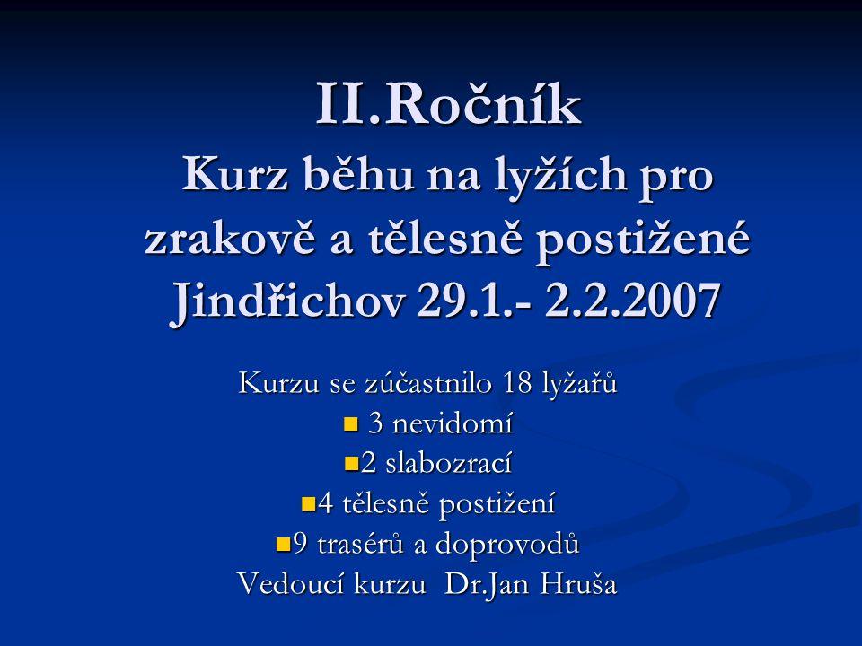 II.Ročník Kurz běhu na lyžích pro zrakově a tělesně postižené Jindřichov 29.1.- 2.2.2007 Kurzu se zúčastnilo 18 lyžařů 3 nevidomí 3 nevidomí 2 slabozrací 2 slabozrací 4 tělesně postižení 4 tělesně postižení 9 trasérů a doprovodů 9 trasérů a doprovodů Vedoucí kurzu Dr.Jan Hruša