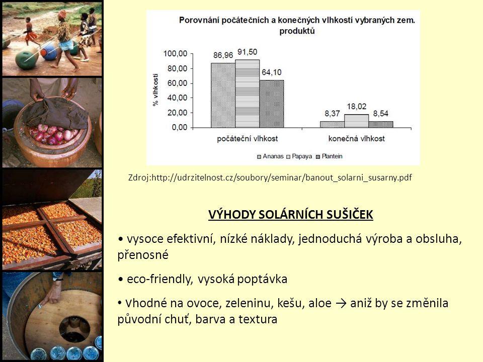 Zdroj:http://udrzitelnost.cz/soubory/seminar/banout_solarni_susarny.pdf VÝHODY SOLÁRNÍCH SUŠIČEK vysoce efektivní, nízké náklady, jednoduchá výroba a obsluha, přenosné eco-friendly, vysoká poptávka v hodné na ovoce, zeleninu, kešu, aloe → aniž by se změnila původní chuť, barva a textura