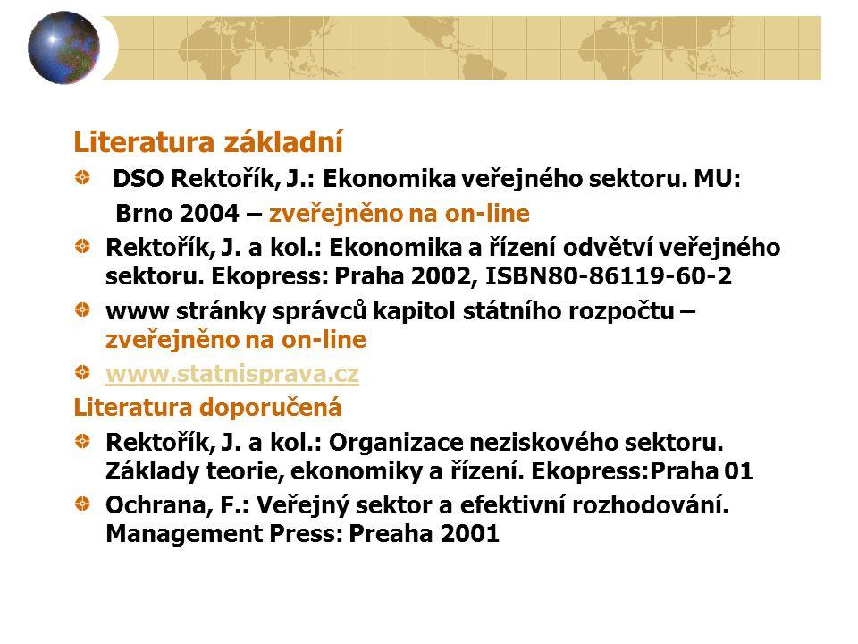 Literatura základní DSO Rektořík, J.: Ekonomika veřejného sektoru.