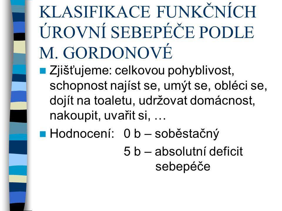 KLASIFIKACE FUNKČNÍCH ÚROVNÍ SEBEPÉČE PODLE M.