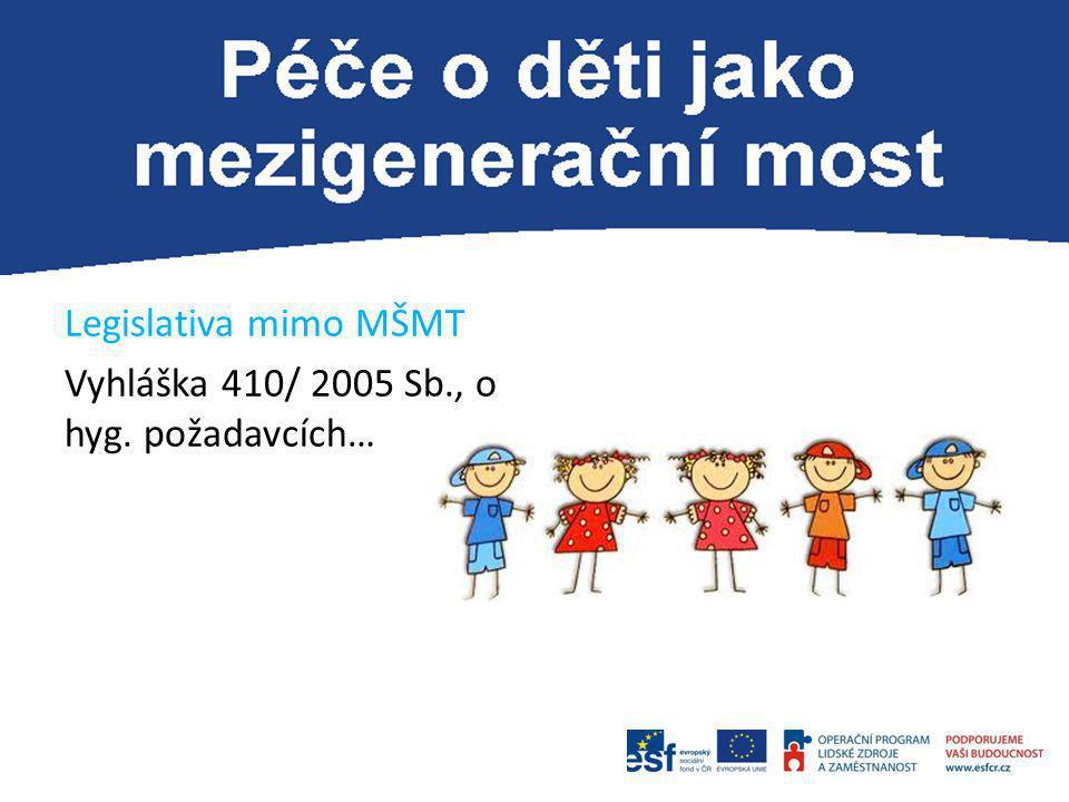 Legislativa mimo MŠMT Vyhláška 410/ 2005 Sb., o hyg. požadavcích…