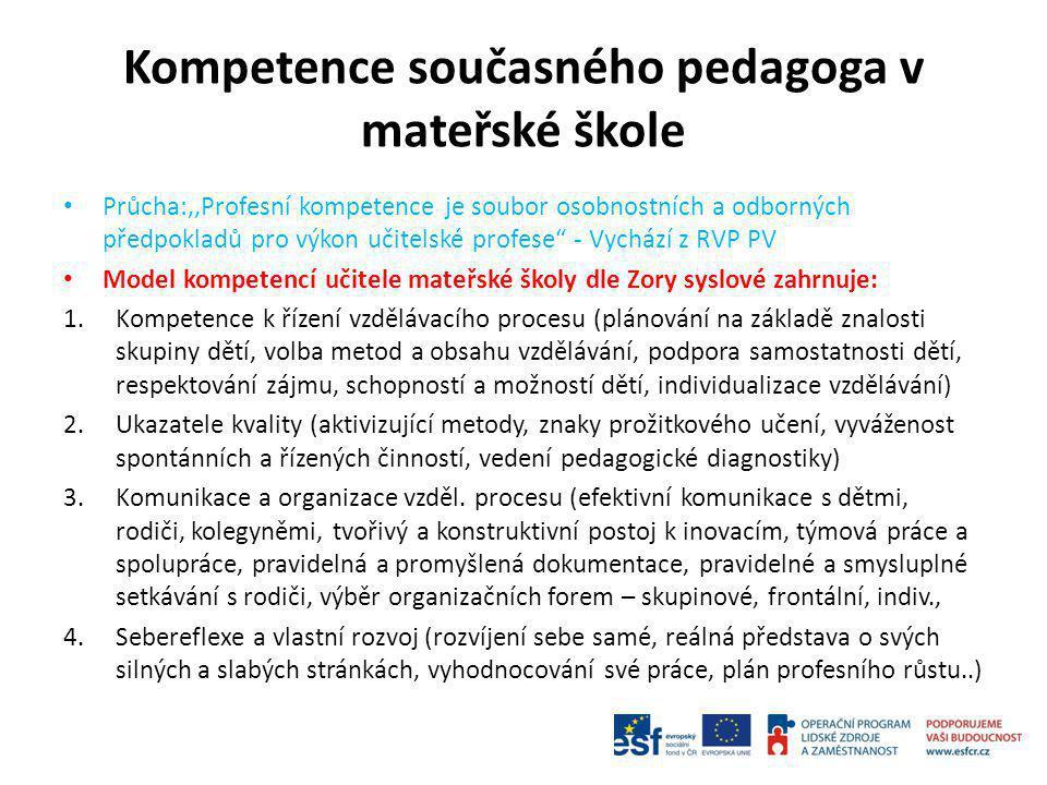 Kompetence současného pedagoga v mateřské škole Průcha:,,Profesní kompetence je soubor osobnostních a odborných předpokladů pro výkon učitelské profes
