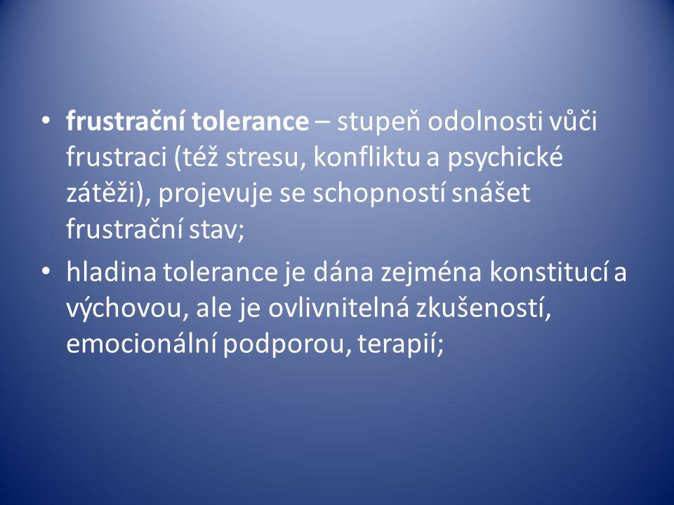 frustrační tolerance – stupeň odolnosti vůči frustraci (též stresu, konfliktu a psychické zátěži), projevuje se schopností snášet frustrační stav; hla