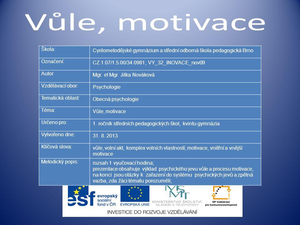 v motivaci působí: a) vnější pobídky (incentivy); b) vnitřní pohnutky, motivy;