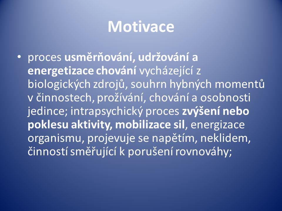 Motivace proces usměrňování, udržování a energetizace chování vycházející z biologických zdrojů, souhrn hybných momentů v činnostech, prožívání, chování a osobnosti jedince; intrapsychický proces zvýšení nebo poklesu aktivity, mobilizace sil, energizace organismu, projevuje se napětím, neklidem, činností směřující k porušení rovnováhy;