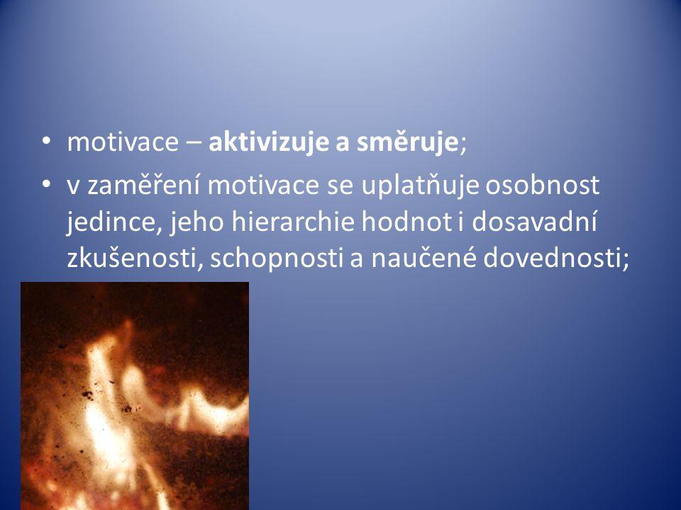 motivace – aktivizuje a směruje; v zaměření motivace se uplatňuje osobnost jedince, jeho hierarchie hodnot i dosavadní zkušenosti, schopnosti a naučené dovednosti;