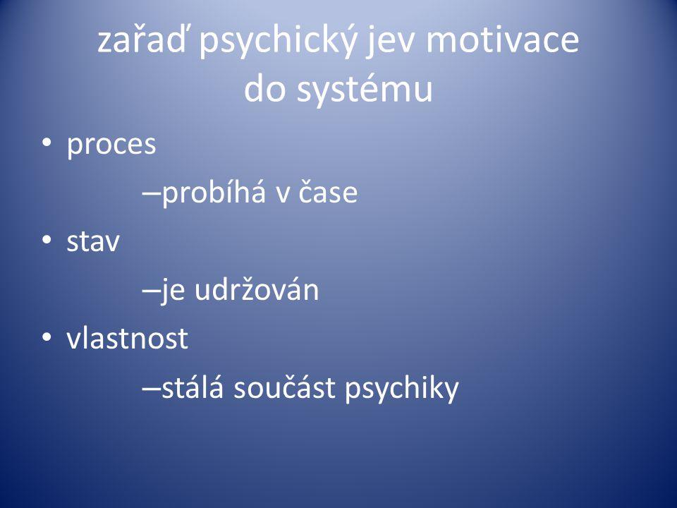 zařaď psychický jev motivace do systému proces – probíhá v čase stav – je udržován vlastnost – stálá součást psychiky