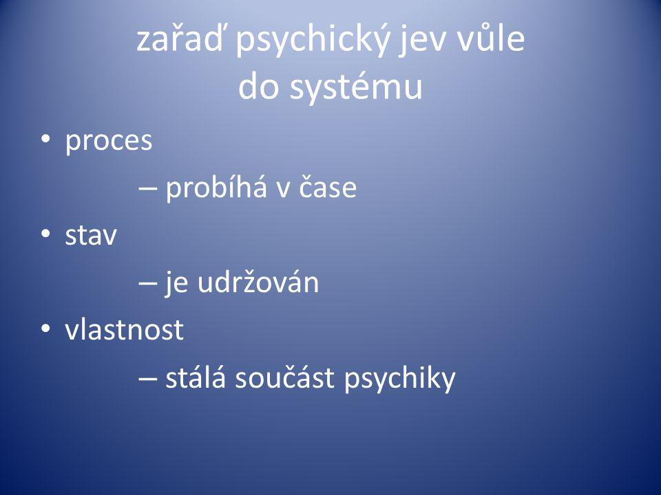 zařaď psychický jev vůle do systému proces – probíhá v čase stav – je udržován vlastnost – stálá součást psychiky