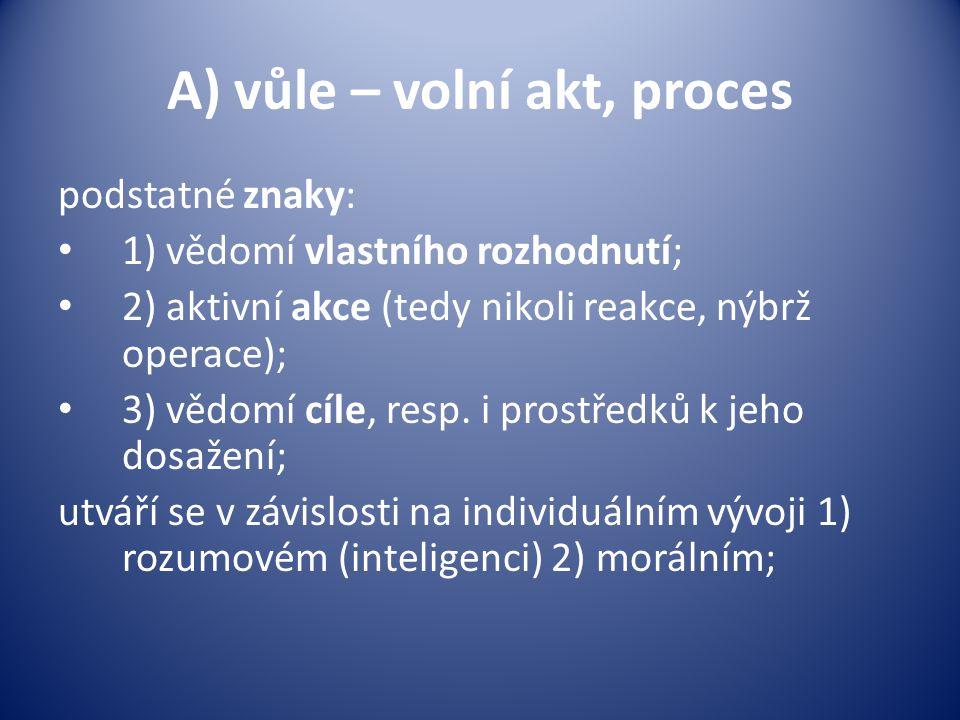 fáze: 1) rozhodovací; komplexnost jednání: intelekt – zvažování, hodnocení; emoce – blokující, stimulující; 2) volba prostředků; 3) realizace + kontrolní aktivita;