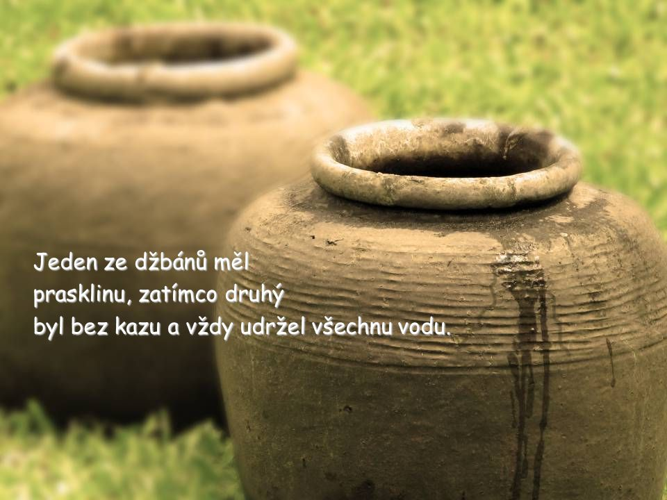 Jedna stará čínská žena měla dva velké džbány na vodu.