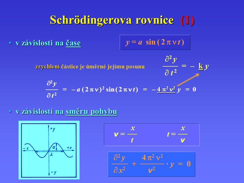  2 y 4  2 2 + · y = 0  x 2 v 2 Schrödingerova rovnice (1) y = a sin ( 2  t )  2 y zrychlení k zrychlení částice je úměrné jejímu posunu = – k y  t 2  2 y 4  2 2 = – a ( 2  ) 2 sin ( 2  t ) = – 4  2 2 y = 0  t 2 x v = t = t v v závislosti na čase v závislosti na čase v závislosti na směru pohybu v závislosti na směru pohybu