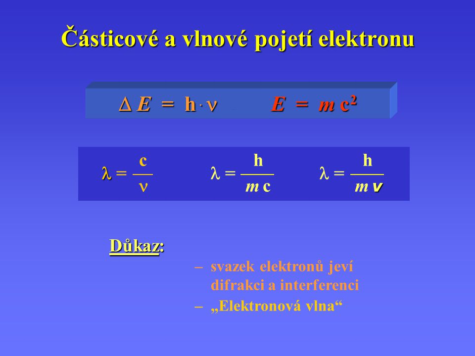 Částicové a vlnové pojetí elektronu  E= h.....