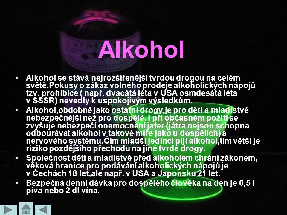Alkohol Alkohol se stává nejrozšířenější tvrdou drogou na celém světě.Pokusy o zákaz volného prodeje alkoholických nápojů tzv. prohibice ( např. dvacá