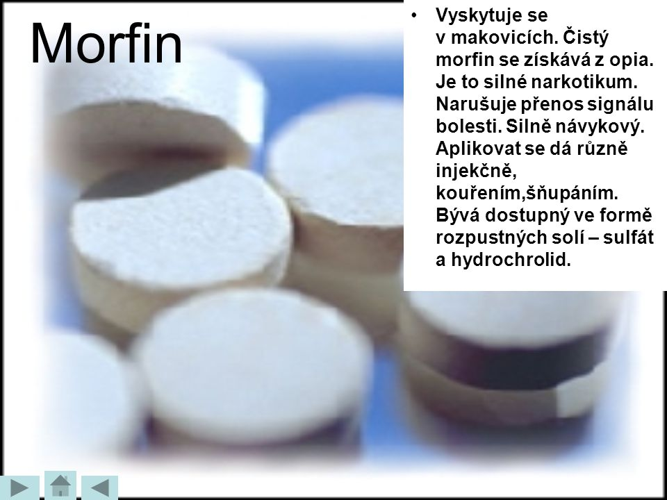 Morfin Vyskytuje se v makovicích. Čistý morfin se získává z opia. Je to silné narkotikum. Narušuje přenos signálu bolesti. Silně návykový. Aplikovat s