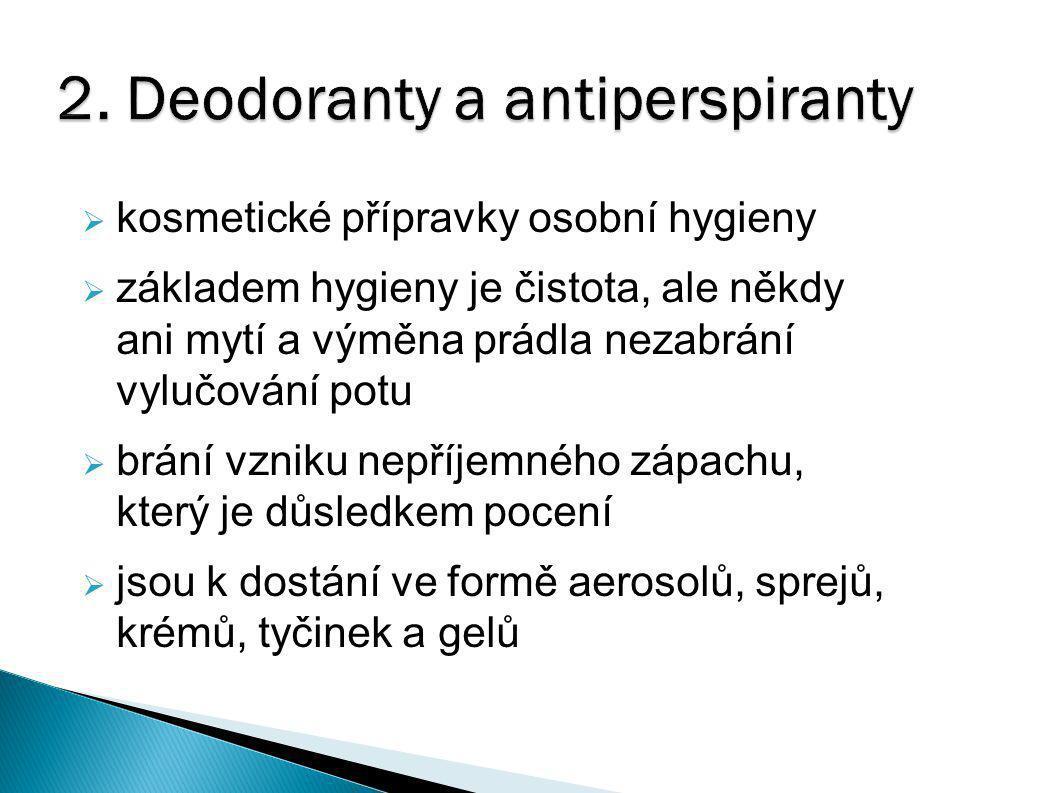 a) Deodoranty  přípravky, které neovlivňují vylučování potu  zabraňují nebo silně omezují množení kožních bakterií rozkládajících pot  obsahují:  antiseptické přísady – protihnilobné, zabraňují nákaze bakteriemi  vhodný druh jemného ale trvalého parfému, který účinek deodorantu doplňuje