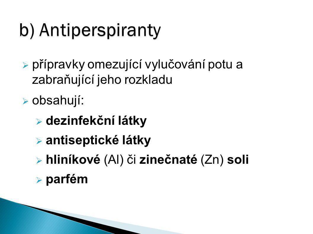 b) Antiperspiranty  přípravky omezující vylučování potu a zabraňující jeho rozkladu  obsahují:  dezinfekční látky  antiseptické látky  hliníkové