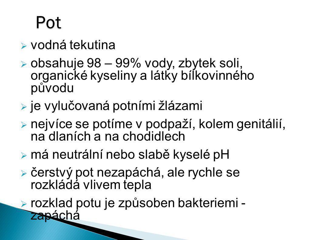 Pot  vodná tekutina  obsahuje 98 – 99% vody, zbytek soli, organické kyseliny a látky bílkovinného původu  je vylučovaná potními žlázami  nejvíce s