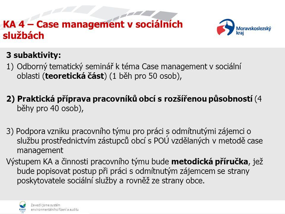 Zavedli jsme systém environmentálního řízení a auditu KA 4 – Case management v sociálních službách 3 subaktivity: 1)Odborný tematický seminář k téma Case management v sociální oblasti (teoretická část) (1 běh pro 50 osob), 2) Praktická příprava pracovníků obcí s rozšířenou působností (4 běhy pro 40 osob), 3) Podpora vzniku pracovního týmu pro práci s odmítnutými zájemci o službu prostřednictvím zástupců obcí s POÚ vzdělaných v metodě case management Výstupem KA a činnosti pracovního týmu bude metodická příručka, jež bude popisovat postup při práci s odmítnutým zájemcem se strany poskytovatele sociální služby a rovněž ze strany obce.