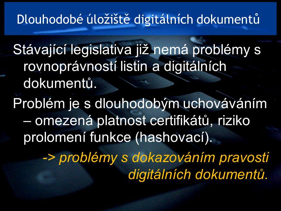 Dlouhodobé úložiště digitálních dokumentů Stávající legislativa již nemá problémy s rovnoprávností listin a digitálních dokumentů. Problém je s dlouho