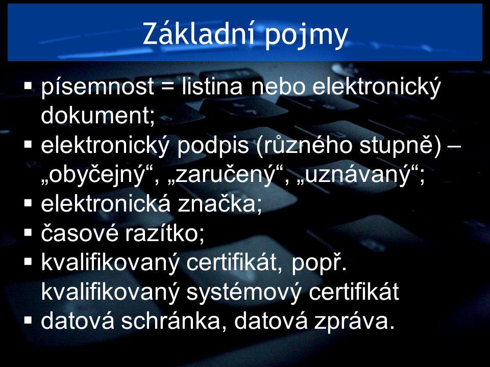 """Základní pojmy  písemnost = listina nebo elektronický dokument;  elektronický podpis (různého stupně) – """"obyčejný"""", """"zaručený"""", """"uznávaný"""";  elektr"""
