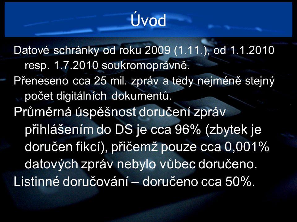 Úvod Datové schránky od roku 2009 (1.11.), od 1.1.2010 resp. 1.7.2010 soukromoprávně. Přeneseno cca 25 mil. zpráv a tedy nejméně stejný počet digitáln