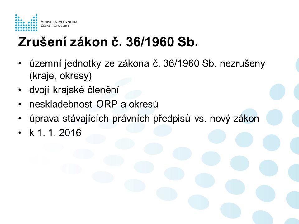 Zrušení zákon č.36/1960 Sb. územní jednotky ze zákona č.