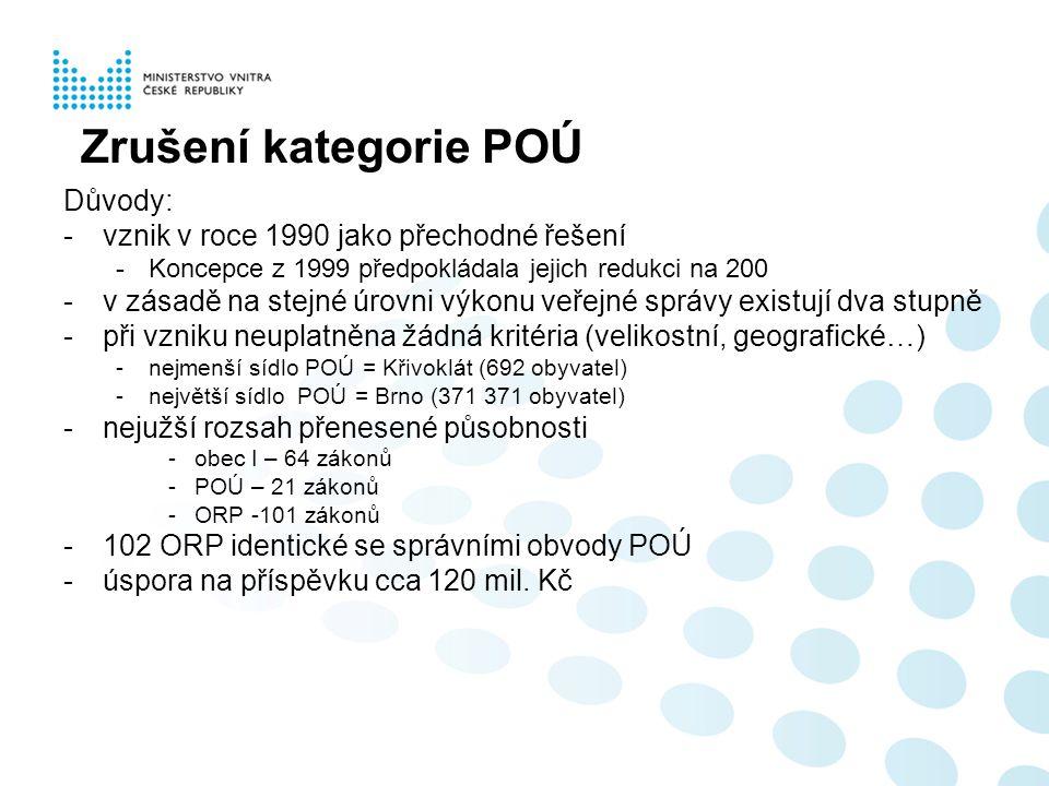 Zrušení kategorie POÚ Důvody: -vznik v roce 1990 jako přechodné řešení -Koncepce z 1999 předpokládala jejich redukci na 200 -v zásadě na stejné úrovni výkonu veřejné správy existují dva stupně -při vzniku neuplatněna žádná kritéria (velikostní, geografické…) -nejmenší sídlo POÚ = Křivoklát (692 obyvatel) -největší sídlo POÚ = Brno (371 371 obyvatel) -nejužší rozsah přenesené působnosti -obec I – 64 zákonů -POÚ – 21 zákonů -ORP -101 zákonů -102 ORP identické se správními obvody POÚ -úspora na příspěvku cca 120 mil.