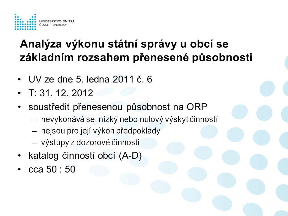 Analýza výkonu státní správy u obcí se základním rozsahem přenesené působnosti UV ze dne 5. ledna 2011 č. 6 T: 31. 12. 2012 soustředit přenesenou půso