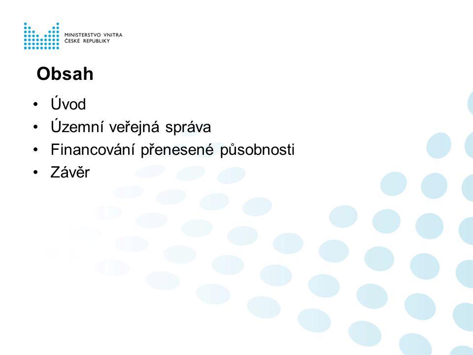 Obsah Úvod Územní veřejná správa Financování přenesené působnosti Závěr